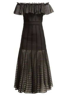 Alexander McQueen Off-the-shoulder stripe knitted midi dress