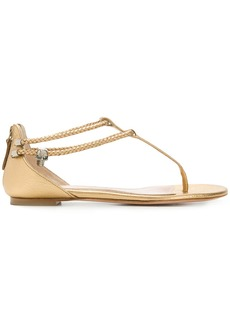 Alexander McQueen open toe flat sandals - Metallic