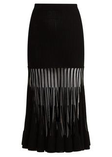 Alexander McQueen Ottoman-knit midi skirt