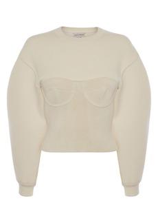 Alexander McQueen Ottoman Stitch Corset Wool Sweater
