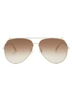 Alexander McQueen Oversized aviator metal sunglasses