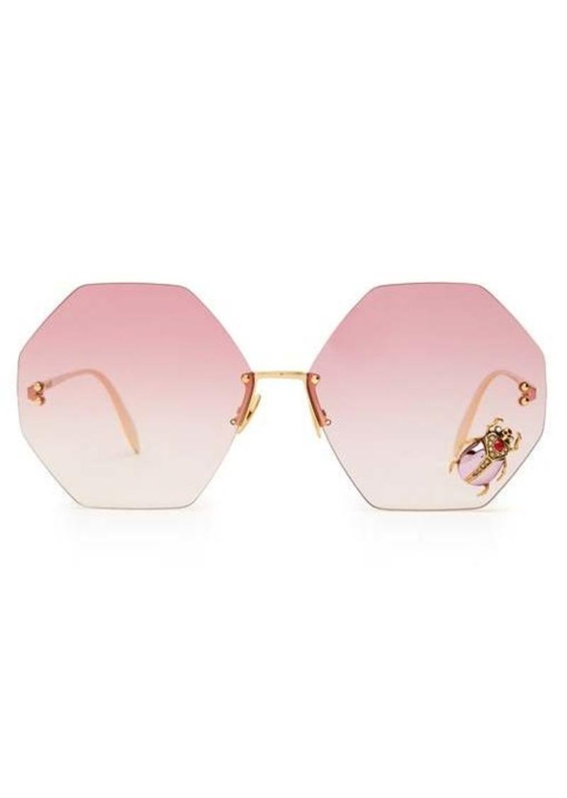 Alexander McQueen Oversized beetle-embellished metal sunglasses