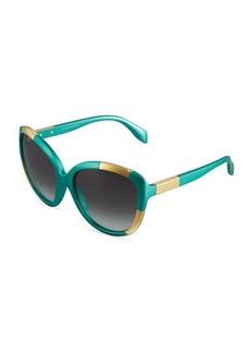 Alexander McQueen Oversized Two-Tone Plastic Sunglasses