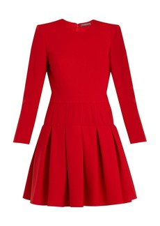 Alexander McQueen Padded-shoulder wool and silk-blend dress