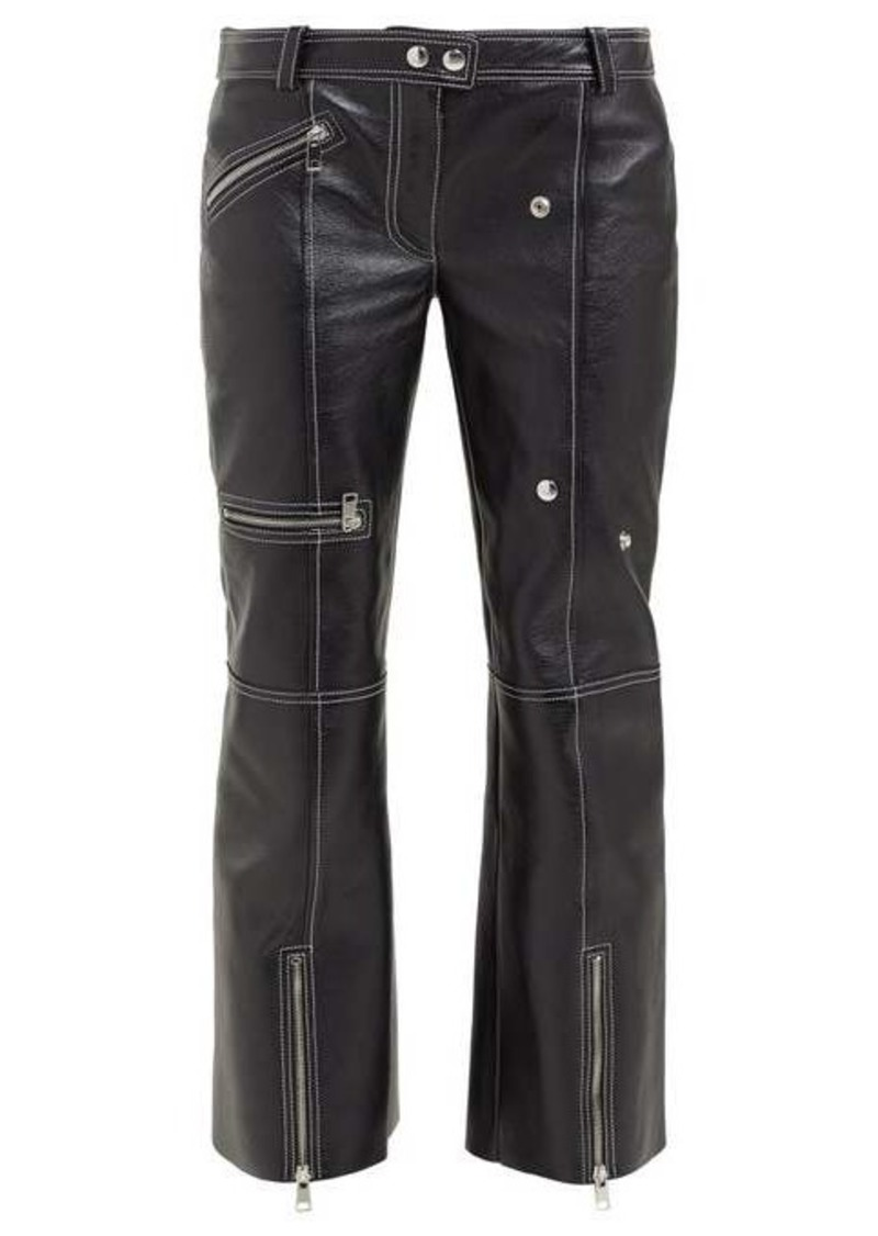 Alexander McQueen Panelled kick-flare leather trousers