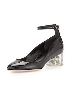 Alexander McQueen Patent Ankle-Wrap Skull Pump