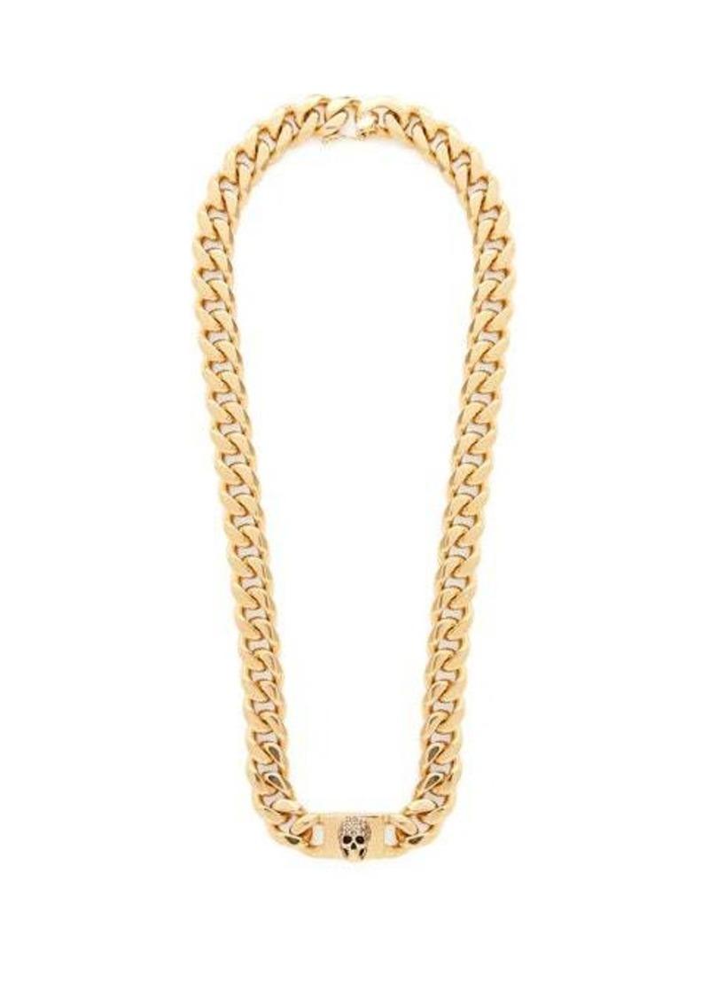 Alexander McQueen Pavé crystal-skull curb-chain necklace