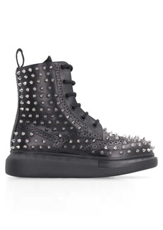 Alexander McQueen Pebbled Leather Brogue Boots