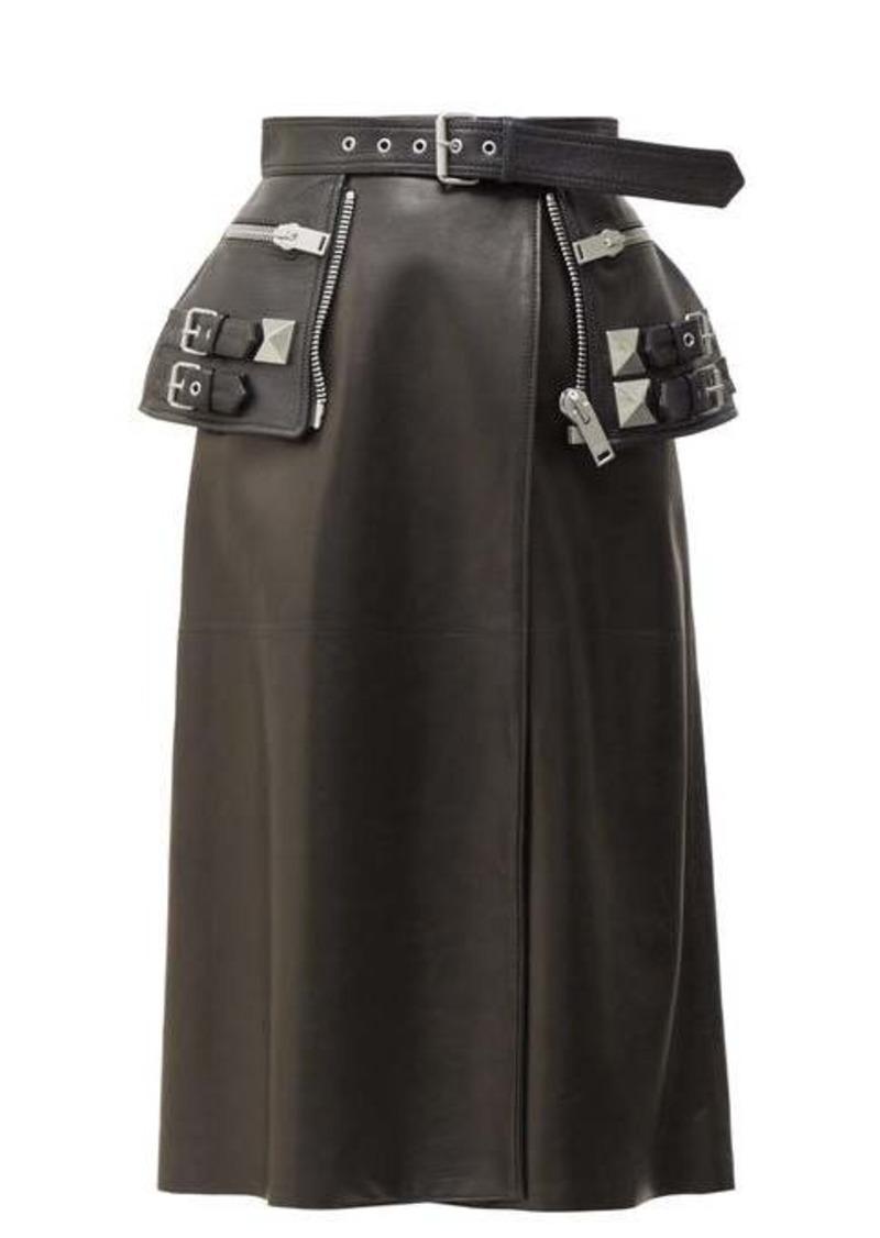 Alexander McQueen Peplum-belt leather skirt