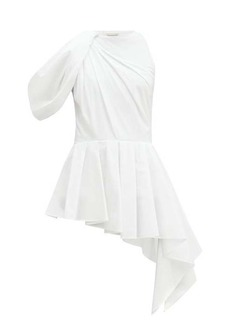 Alexander McQueen Peplum bodice-overlay cotton top