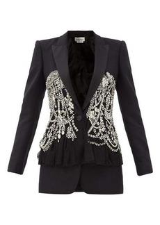 Alexander McQueen Peplum crystal-embellished wool-blend twill jacket