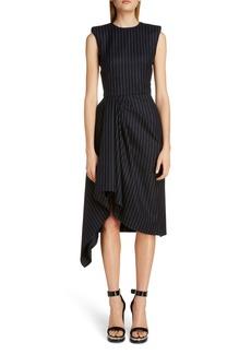 Alexander McQueen Pinstripe Asymmetrical Drape Midi Dress