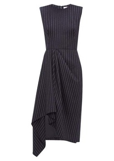 Alexander McQueen Pinstripe draped-waist wool dress