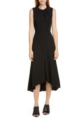 Alexander McQueen Pleat Neck Stretch Wool Crepe Midi Dress