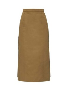 Alexander McQueen Pleated-back canvas pencil skirt