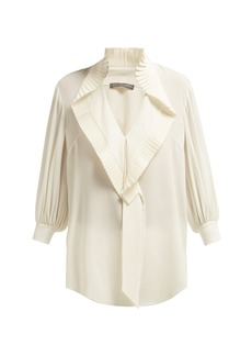Alexander McQueen Pleated-collar silk-georgette blouse