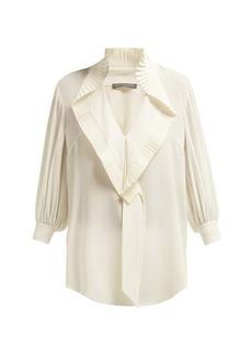Alexander McQueen Pleated-collar silk-georgette blouse