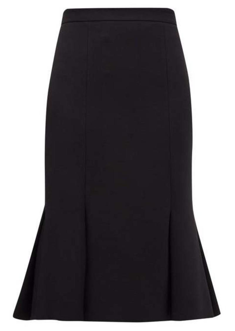 Alexander McQueen Pleated-hem wool-blend crepe skirt
