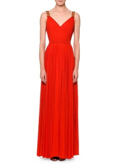 Alexander McQueen Pleated Maxi Gown w/Leather Belt Straps
