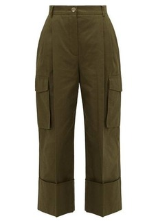 Alexander McQueen Pleated wide-cuff cotton-canvas cargo trousers
