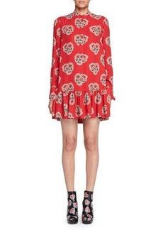 Alexander McQueen Poppy-Print Drop-Waist Dress