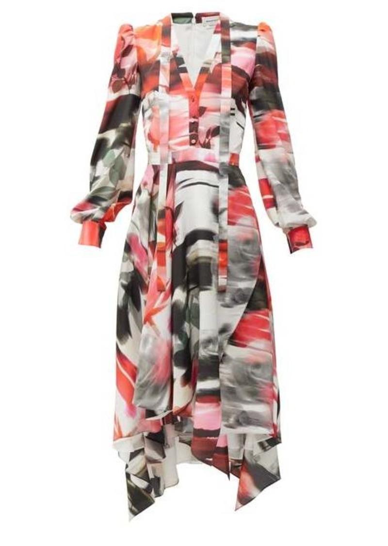 Alexander McQueen Rose-print pussy-bow silk dress