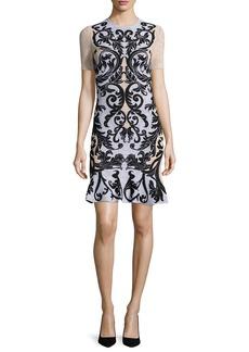 Alexander McQueen Printed Lace Short-Sleeve Dress