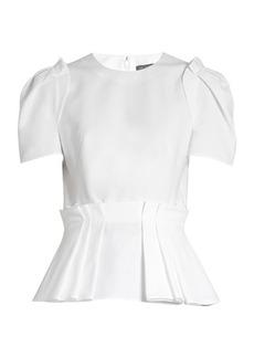Alexander McQueen Puff-sleeved pleated-peplum cotton top