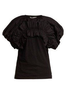 Alexander McQueen Puff-sleeves ruched-detailed cotton T-shirt
