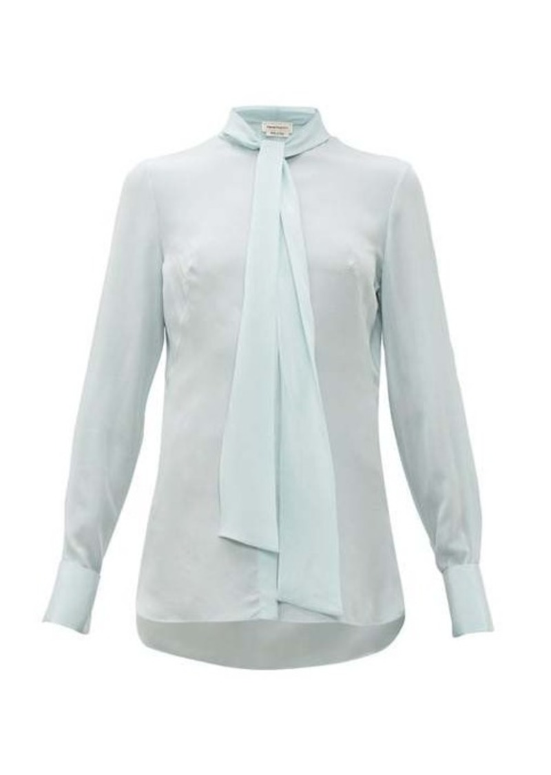 Alexander McQueen Pussy-bow silk crepe de Chine blouse