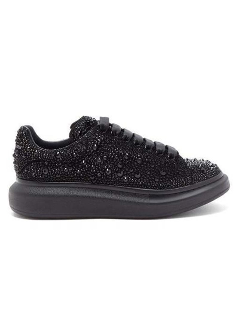 Alexander McQueen Raised-sole crystal-embellished leather trainers