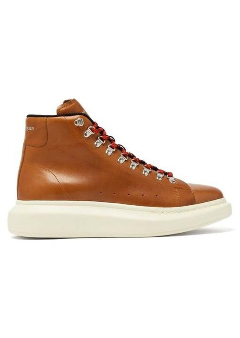 Alexander McQueen Raised-sole low-top leather boots