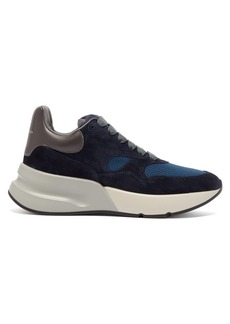 Alexander McQueen Runner raised-sole low-top suede and mesh trainers
