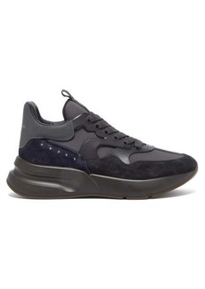 Alexander McQueen Runner raised-sole suede and leather trainers