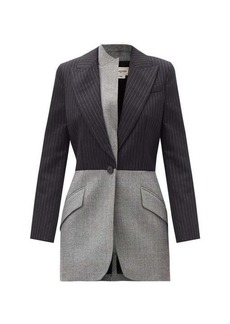 Alexander McQueen Reconstructed pinstripe and check wool jacket