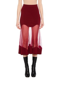 Alexander McQueen Ribbed-Knit Sheer Panel Midi Skirt