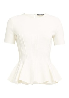 Alexander McQueen Ribbed short-sleeve peplum-hem sweater