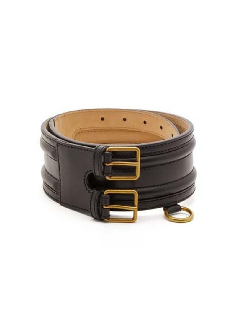 Alexander McQueen Ring-embellished leather belt