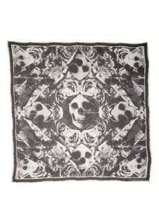 Alexander McQueen Ripped Roses & Skull Square Silk Chiffon Scarf