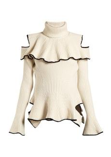 Alexander McQueen Roll-neck ruffle-trimmed wool-blend sweater