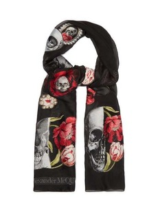 Alexander McQueen Rose and skull appliqué chiffon scarf
