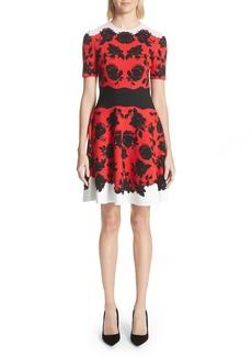 Alexander McQueen Rose Jacquard Knit Flounce Dress
