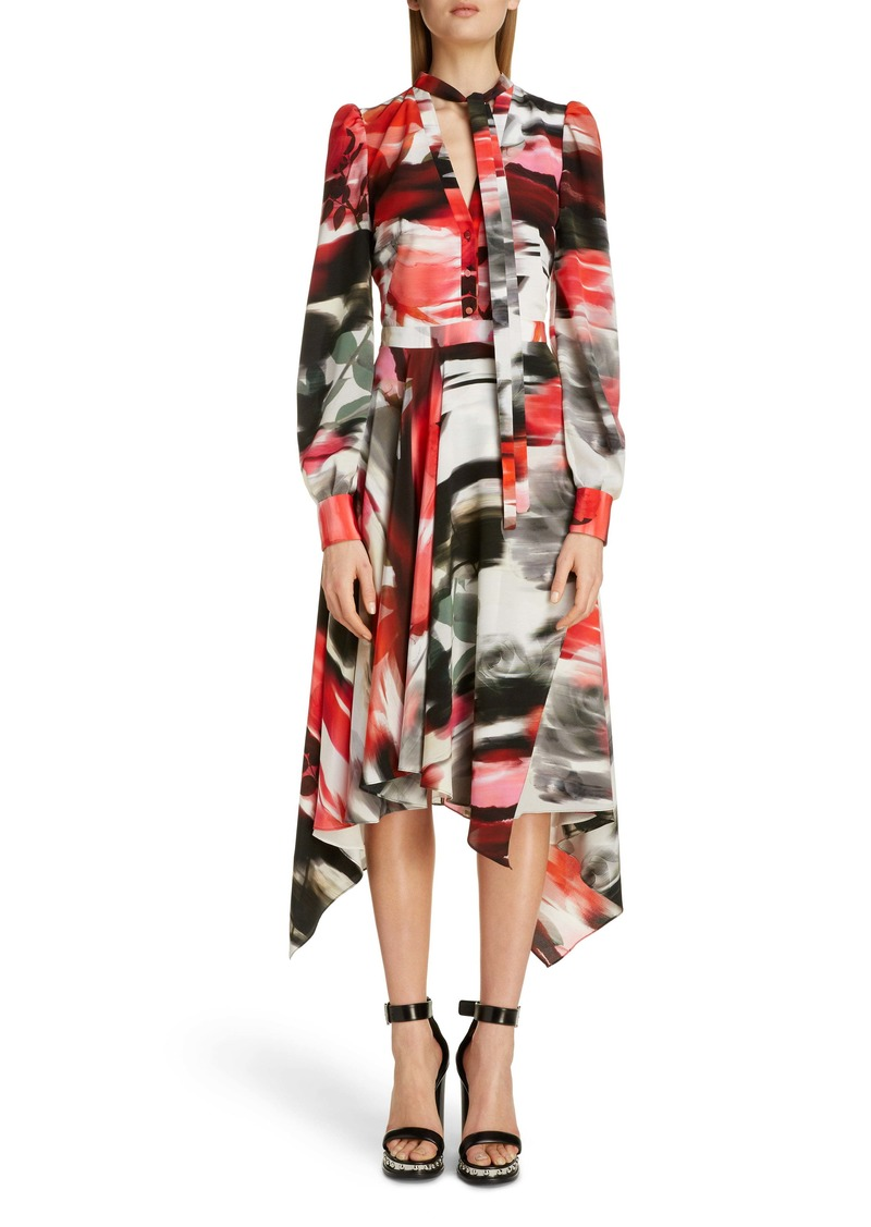 Alexander McQueen Rose Print Silk Asymmetrical Long Sleeve Dress