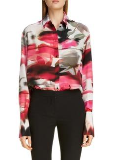 Alexander McQueen Rose Print Silk Blouse