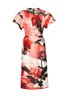 Alexander McQueen Rose-print wool-blend satin dress