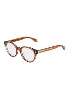 Alexander McQueen Round Opaque Acetate Optical Glasses