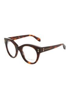Alexander McQueen Round Plastic Havana Optical Glasses