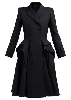 Alexander McQueen Ruffle double-breasted wool and silk-blend coat