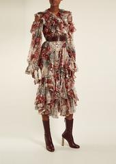 Alexander McQueen Ruffle-rimmed fil coupé jacquard dress