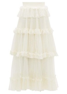 Alexander McQueen Ruffle-tiered silk-net skirt